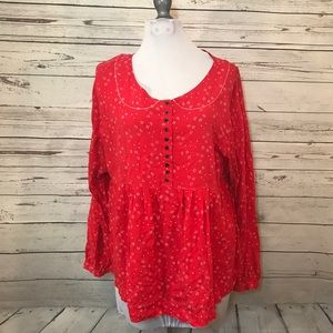 Free People red top size Medium ditsy Floral